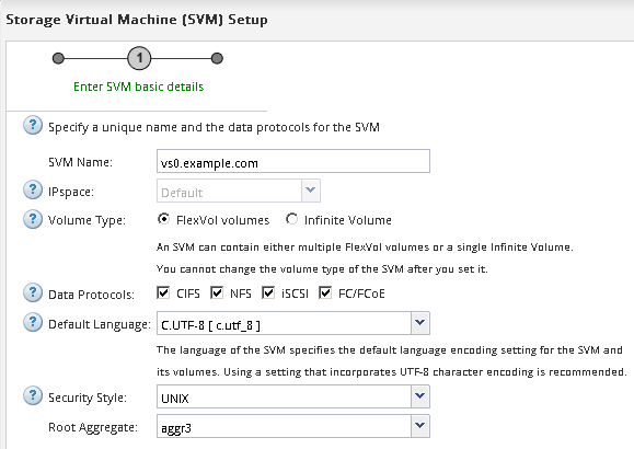 Creating a new SVM with an NFS volume and export
